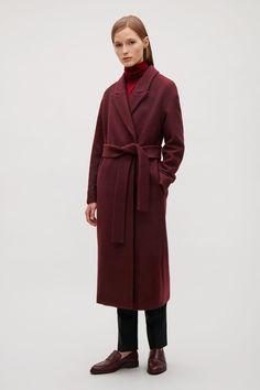 COS image 9 of Belted wool coat  in Burgundy