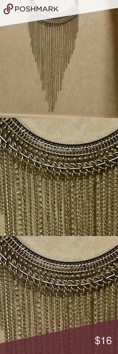 Arizona Jeans Co. Silver Necklace Arizona Jeans Silver Necklace. Necklace with black double strap/strings that come together and closes with a clasp and is ajustable. Metal curved bar with design and with strings of chains and strings of diamond hanging off it. Strings are all differnt lengths. Much prettier in person than photos show. New, never worn or tried on. I just don't wear long dangle necklaces they tend to get caught on my dad's wheelchair or broke when transferring him. Arizona…