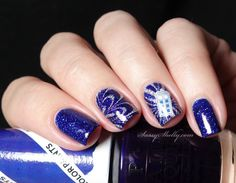 Doctor Who TARDIS Nails - stamping decal and watermarble manicure with OPI and Funky Fingers  | Sassy Shelly
