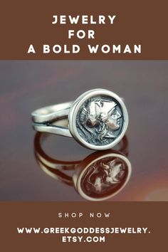 Perfect jewelry for a bold woman - a silver ring with the coin representing Athena - the Greek goddess of courage, wisdom and justice. #coinring #coinjewelry #antiquering #antiquejewelry #bohemianjewelry #bohojewelry #greekjewelry
