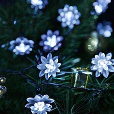 6 M 30 Led de Hadas Flor De Loto LLEVÓ La Lámpara Solar Al Aire Libre A Prueba de agua Decoración de Navidad Jardín de Vacaciones Luces de la Secuencia de Energía Solar