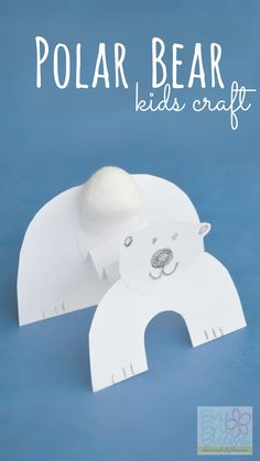 Polar Bear kids craft to celebrate International Polar Bear Day - Brie Brie Blooms - - Celebrate International Polar Bear day with a polar bear kids craft at home or in the classroom. Winter Activities, Craft Activities, Preschool Crafts, Crafts For Kids, Kindergarten Collage, Artic Animals, Wild Animals, Baby Animals, January Crafts