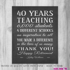 Teachers Gift RETIREMENT Unique Personalized One of a Kind Inpirational Print Chalkboard Teacher Gift Idea CUSTOM Colors Appreciation