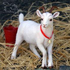 Needle felted goat by YuliaLeonovich on DeviantArt Felt Christmas, Christmas Presents, Barbie And Ken, Felt Animals, New Artists, Needle Felting, Wool Felt, Goats, Artworks
