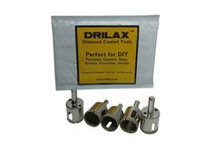 Drilax___ 5 Pcs Diamond Drill Bit Set 1' (One In) Wet Use for Tiles, Glass, Fish Tanks, Aquarium, Marble, Granite, Ceramic, Porcelain, Bottles, Quartz - Lot 5 Diamond Coated Drills - Kitchen, Bathroom, Shower, Lamps, Lights Drilax052525 *** Startling review available here  : home diy improvement