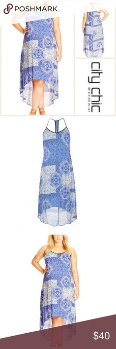 NWT 16 plus size racer back maxi high low dress Boho chic for any summer fest, a flowy A-line maxi flaunts an exotic patchwork print in pretty blue tones accented with black trim tracing the V-neckline and racerback. Other details we love: the embroidered center panel in back and the gracefully cut high/low hem. Slips on over head. V-neck. Sleeveless. 100% viscose.  Plus size 16 (city chic S) City Chic Dresses High Low