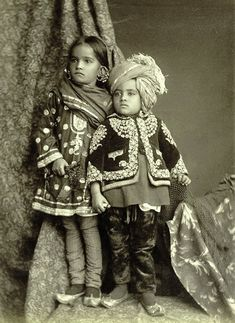 Children from Jammu and Kashmir c. The Panjab, North-West Frontier Province, and Kashmir by Sir James McCrone Douie, 1916 Antique Photos, Vintage Photographs, Old Photos, Portraits Victoriens, Studio Portraits, Vintage India, We Are The World, Jolie Photo, Churidar