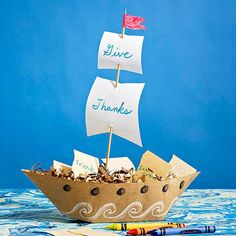How to Make a Mayflower Centerpiece for Thanksgiving: This jaunty centerpiece sets sail loaded with notes of thanks.