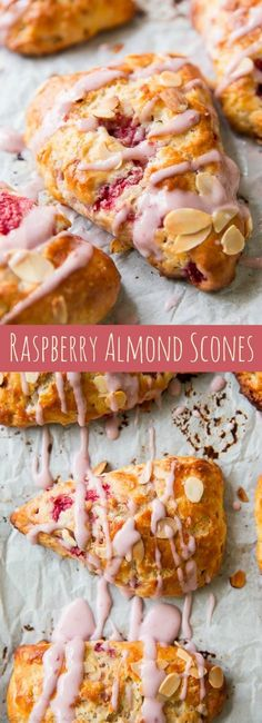 Scones - Flaky, sweet, and tender scones with juicy raspberries and almond flavor in each bite Grab all my scone baking tips and the recipe on sallysbakingaddiction com Brunch Recipes, Gourmet Recipes, Baking Recipes, Breakfast Recipes, Baking Tips, Scone Recipes, Buttermilk Recipes, Cookie Recipes, Raspberry Scones