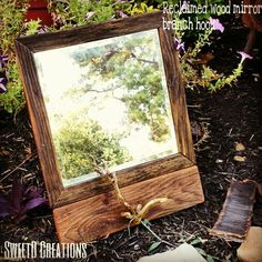 Reclaimed wood mirror with branch hook by SweetD Creations