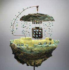 Christina Wiese. Ceramic Pottery, Ceramic Art, Reclaimed Wood Art, Doll Home, Boat Art, Cement Crafts, Kinetic Art, Driftwood Art, Art Object
