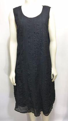 J. Jill Womens XLP Black Crinkly Cotton Silk Sleeveless Knee-Length Dress #JJill #Casual