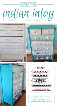A DIY stenciled dresser using the Indian Inlay Stencil Kit. http://www.cuttingedgestencils.com/indian-inlay-stencil-furniture.html