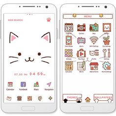"""Kitty Face""8/7 What does your smartphone need? More cats! Turn your smartphone into a cat with this cute theme! http://app.android.atm-plushome.com/app.php/app/themeDetail?material_id=1311&rf=pinterest #cute #wallpaper #love #kawaii #design #icon #girl #fashion #plushome #cat"