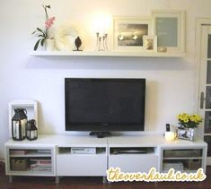Over tv decor shelf over beautiful design ideas above and bookshelf decor stand around under ladder . over tv decor living room with decorating Living Room Wall Units, Living Room Shelves, Living Room Decor, Bedroom Shelves, Over Tv Decor, Decor Around Tv, Shelf Above Tv, Tv Shelf, Shelf Display