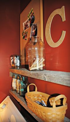 reader feature, small laundry with rustic reclaimed wood shelves, Chores and Chandeliers Reclaimed Wood Shelves, Rustic Shelves, Small Laundry Space, Laundry Area, Laundry Closet Makeover, Laundry Shelves, Apartment Living, Household Items, Home Organization
