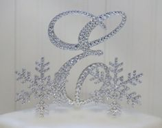 """Snowflake Winter Wedding Cake Topper with 6"""" Initial Monogram & 2-3.5"""" Snowflakes. Letters A B C D E F G H I J K L M N O P Q R S T U V W XYZ"""