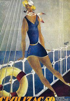 Bernardo Marques (1898-1962) illustration for the magazine cover Civilization , number 15, September 1929.