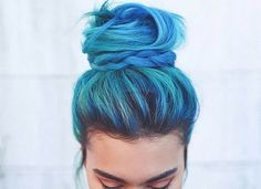 blue hair, bun, colo