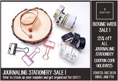R.atelier Boxing Week Journaling Stationery Sale! 25% off All Stationery Items ~time to stock up your supplies and get organized for 2017!~ From Dec 26, 2016 to Jan 7, 2017