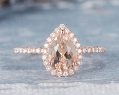 HANDMADE RINGS & BRIDAL SETS by MoissaniteRings on Etsy Pear Wedding Ring, Unique Wedding Bands, Diamond Wedding Bands, Halo Diamond, Wedding Rings, Bridal Ring Sets, Handmade Rings, Morganite Engagement, Engagement Rings