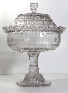 LARGE Gorgeous EAPG 1887 Belmont Globe & Star Dessert Footed Compote engraved