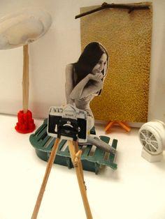 ''Lara's first photoshoot'' made of beach-trash & vintage magazines