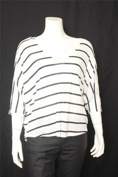 New Express Striped White V-neck 3/4 Dolman Sleeves Knit Top Size S
