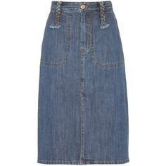 See By Chloé Stretch-Cotton Denim Skirt (6,350 EGP) ❤ liked on Polyvore featuring skirts, blue, see by chloé, blue skirt, blue denim skirt, knee length denim skirt and denim skirt
