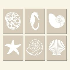 Nautical Beach Art Quad - Set of Four Coordinating Silhouette Art Prints - Sea Shells, Starfish, Art Mur, Wall Art, Wall Decor, Bedroom Decor, Art Plage, Deco Marine, Seashell Art, Silhouette Art, Kirigami