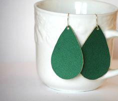 Emerald Green Faux Leather Teardrop Earrings by BaublesbyB on Etsy