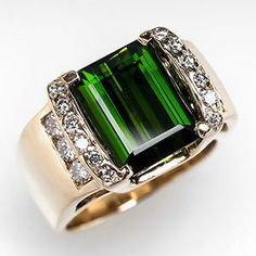 Wide Band Green Tourmaline Cocktail Ring w/ Diamonds 14K Gold - EraGem