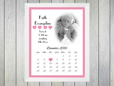 Framed Personalised Print to commerate the birth of a baby girl. Personalised with name of baby, time of birth and weight at birth. Date of birth is shown by marking the date with a heart on a calendar. Picture of baby also on print Frame size is usually Print Calendar, New Baby Girls, Baby Time, Baby Pictures, New Baby Products, Birth, Framed Prints, Heart, Cards