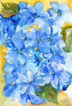 Blue Hydrangeas  watercolor painting original   by SharonFosterArt, $35.00