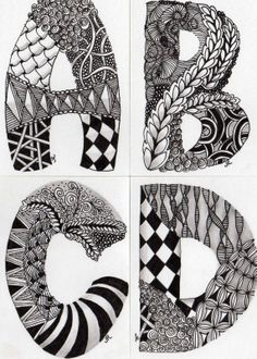 zentangle letters- A is for Andy etc