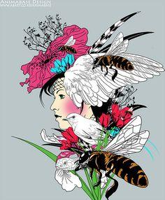 (illustration) flower lady by animabase, via Flickr