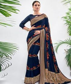 Chanderi Silk Saree Chanderi Silk Saree, Silk Sarees, Long Cut, Blouse Online, How To Dye Fabric, Color Shades, Festival Wear, Blue Fabric, Navy Blue