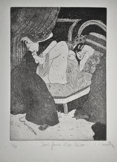 GRAVURE / EAU-FORTE / Collection BigNana / Jeune femme et son hérisson    https://www.etsy.com/fr/shop/CFTurcas