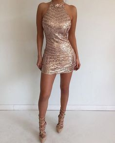OKDRESSES offers Cheap Sexy Mini Halter Sleeveless Backless Tight Rose Gold Homecoming Dress with Sequins for women and girls with reasonable price and high quality. Women's Dresses, Trendy Dresses, Tight Dresses, Cute Dresses, Beautiful Dresses, Dress Outfits, Evening Dresses, Fashion Dresses, Formal Dresses