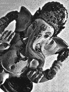 "Saatchi Online Artist TOULA MAVRIDOU-MESSER; Photography, ""NEW Photographic Art Print For Sale: Hindu Deity Ganesh in Black and White"" #art"