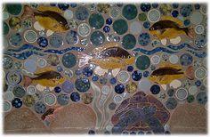pumpkin blue gill fresh water fish and turtle mosaic shaped ceramic tile backsplash