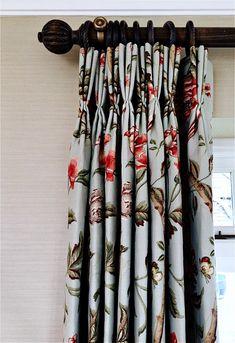 Curtain fabric Elinor Chinese by Lee Jofa. Curtain poles by Hunter and Hyland chalkwax medium oak. Curtain Poles, Curtain Fabric, Hanging Curtains, Roman Blinds, Interior Inspiration, Lee Jofa, Interior Design, Modern, Prints