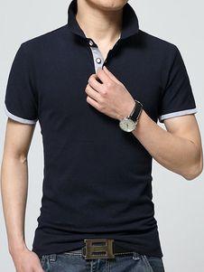 Botones de la camisa de Polo negro algodón, camisa de Polo para los hombres