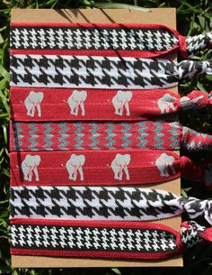 I NEED these!!!   7 Pack Alabama Red Gray HOUNDSTOOTH Chevron Print Crimson Roll Tide BAMA Gray Elephant by LoveMeKnotHairTies, $6.95