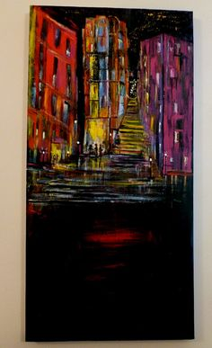 "Luminous City Scape Art Original Acrylic Painting on Canvas - 40"" x 20"" -  The Nightlife. $650.00, via Etsy."