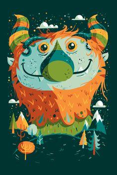 Approaching by Greg Abbott Monster Illustration, Fun Illustration, Monster Drawing, Monster Art, Indian Folk Art, Funky Art, Cute Monsters, Graphic Prints, Cute Art
