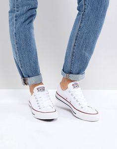 Shop Converse Chuck Taylor All Star core white ox sneakers at ASOS. White Low Top Converse, White Converse Outfits, Converse Sneakers, Casual Sneakers, Jean Outfits, Chuck Taylors, Converse Chuck Taylor All Star, Chuck Taylor Sneakers, Chuck Taylor 2 White