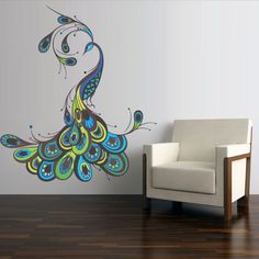 Full Color Wall Decal Sticker Feather Peacock Bird (Col767) #Oracal #Modern