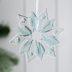 glass starflake christmas decoration - pastel green by jo downs