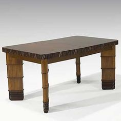K.E.M. WEBER; GRAND RAPIDS FURNITURE CO.; Mahogany And Birch Dining Table  With Three